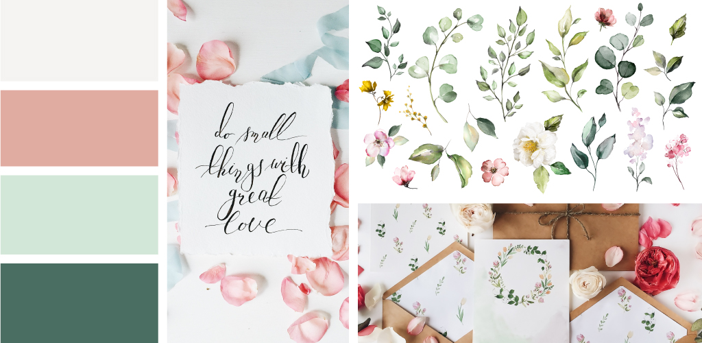 Mood board shows watercolor style for invitation