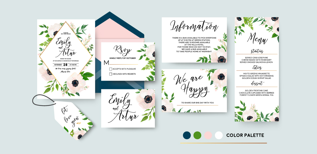 Invitation pieces in consistent visual style