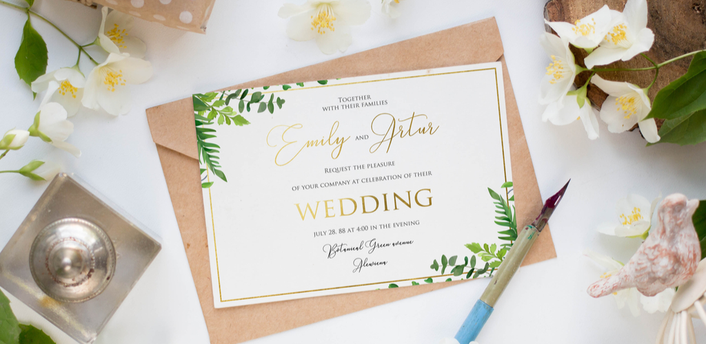 Invitation mockup with gold foil lettering