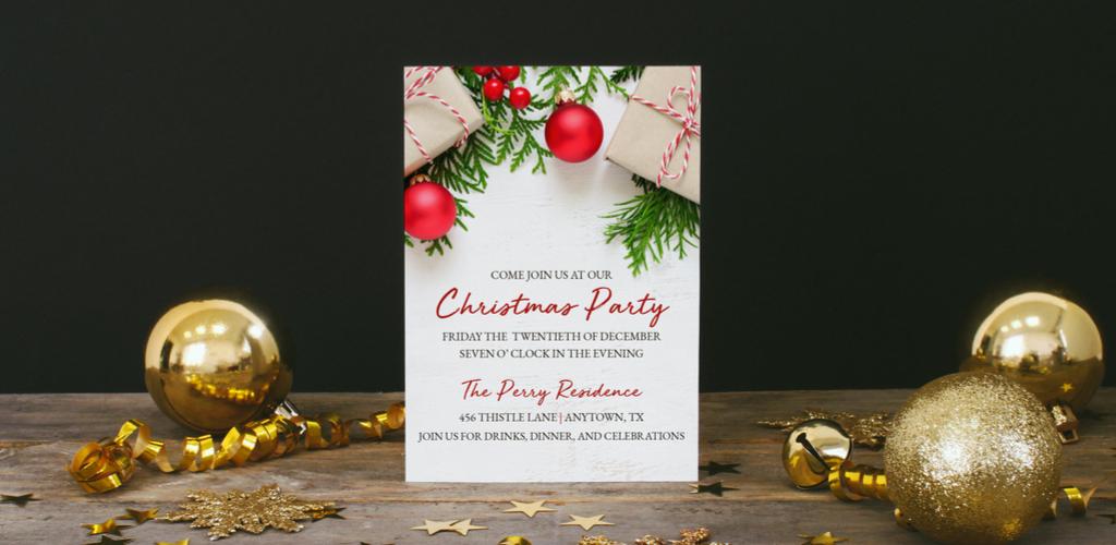 Holiday invitation mockup using photography