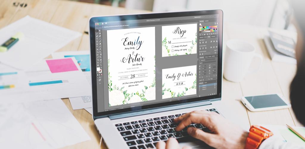 Woman designing invitation on laptop