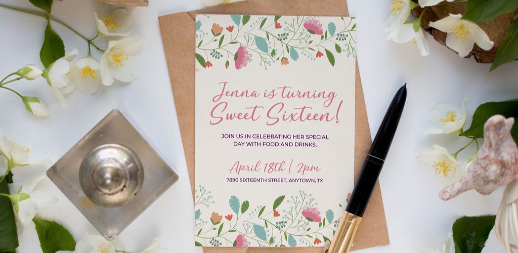 Invitation mockup using script font