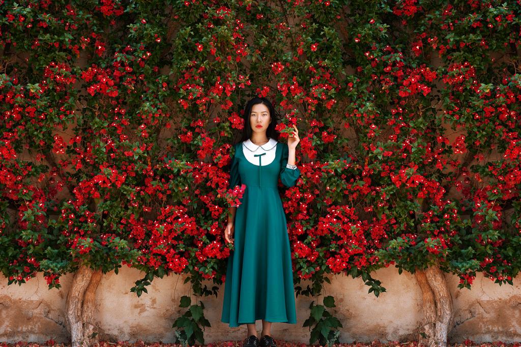 February Fresh - Asian Lady in Flowers
