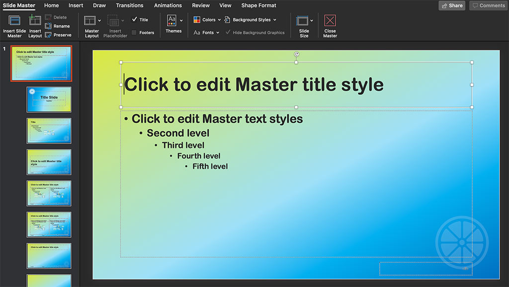 how to edit master title style slide in PowerPoint