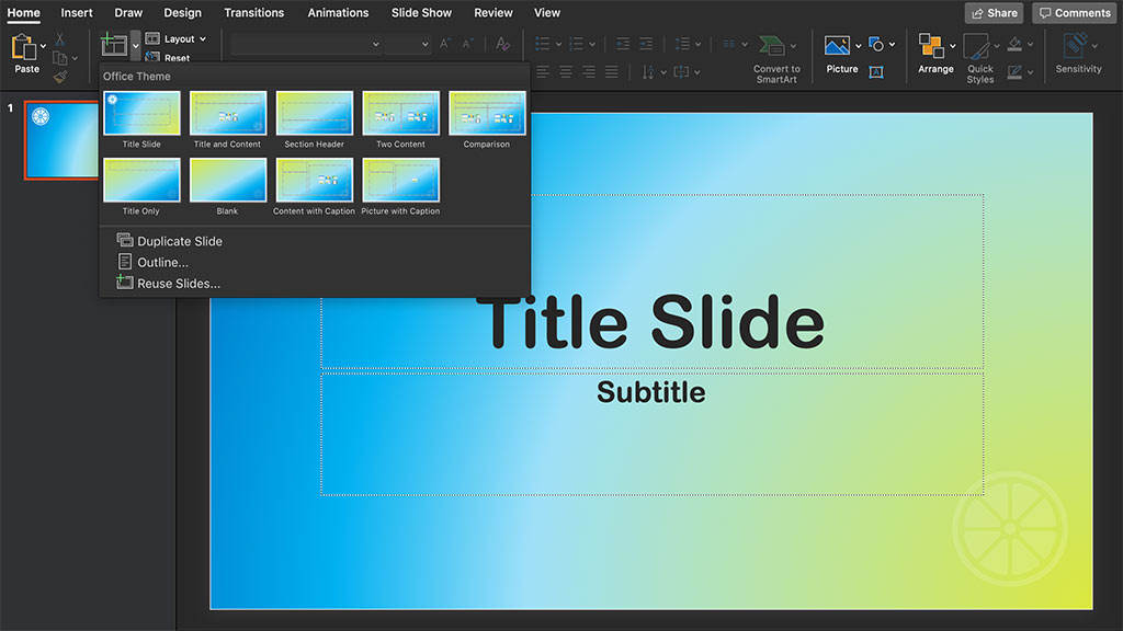 create new presentation from template