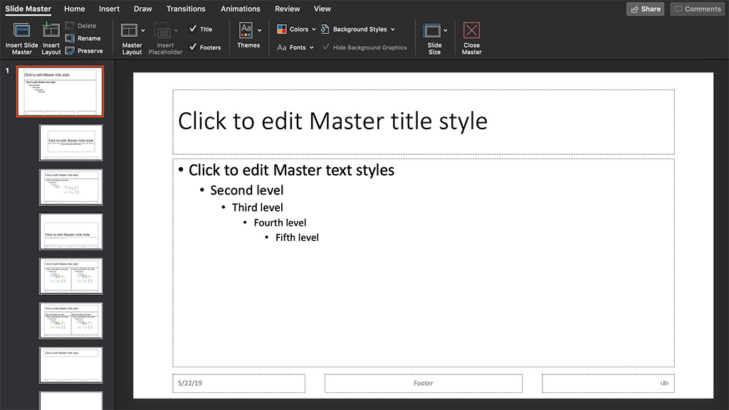 master title style slide in PowerPoint