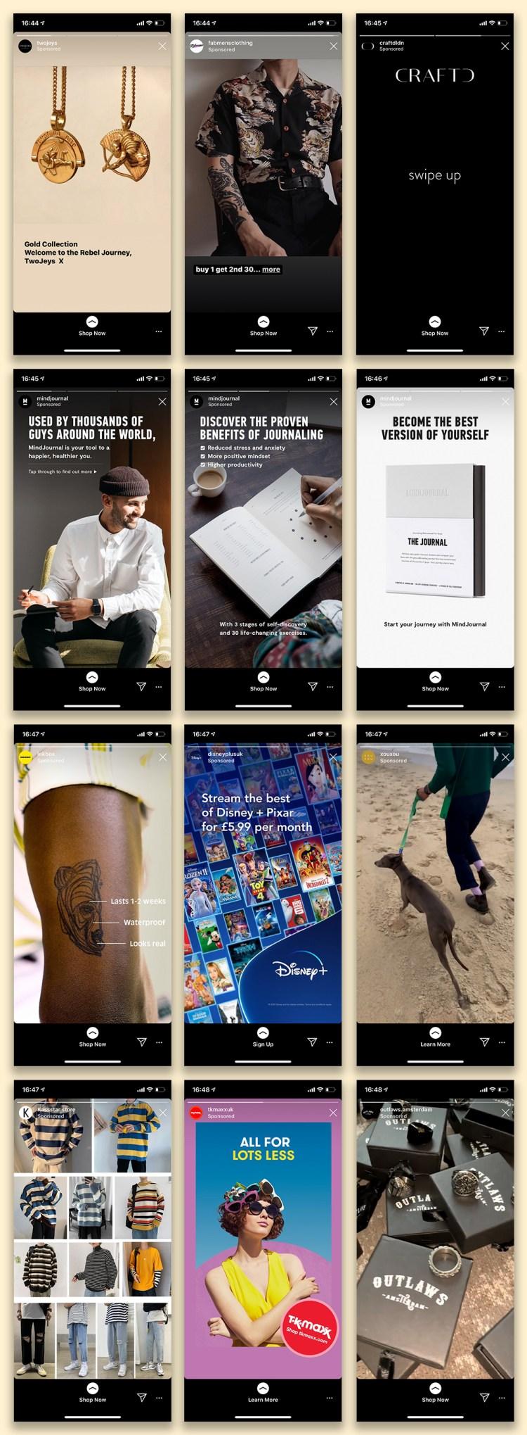 Examples of swipe-up Instagram stories